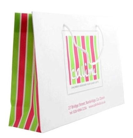 rope handle white kraft paper bags with printed logo