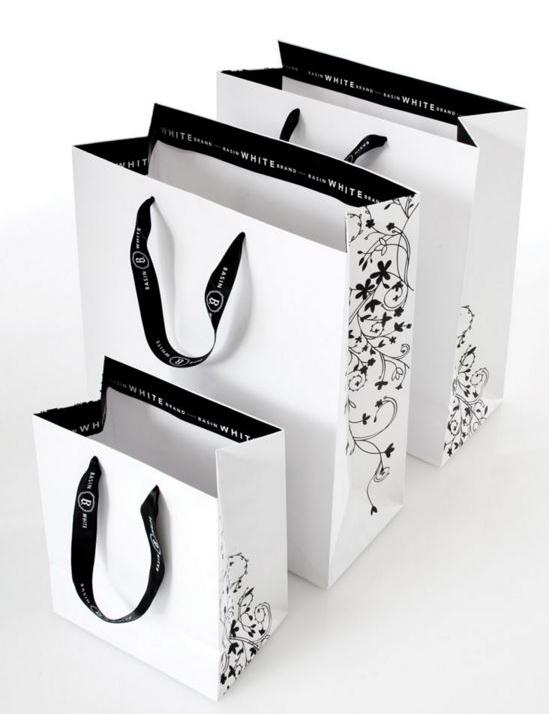 custom made luxury paper bags with printed ribbon handle
