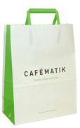 white kraft bags with colors flat handles and pritning custom logo