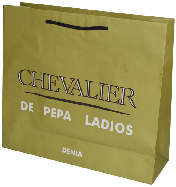 Printed White Kraft Paper Bags With Rope Handle