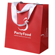 laminated paper bags with ribbon handle and logo