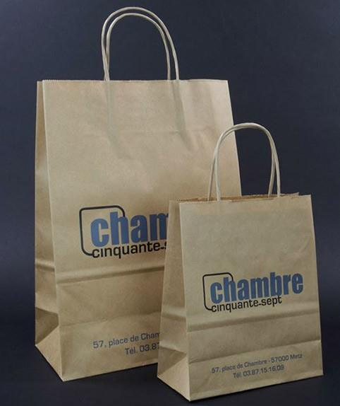 printed brown kraft bags with twisted handle