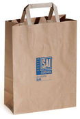 brown kraft bags with flat handles and custom logo printing