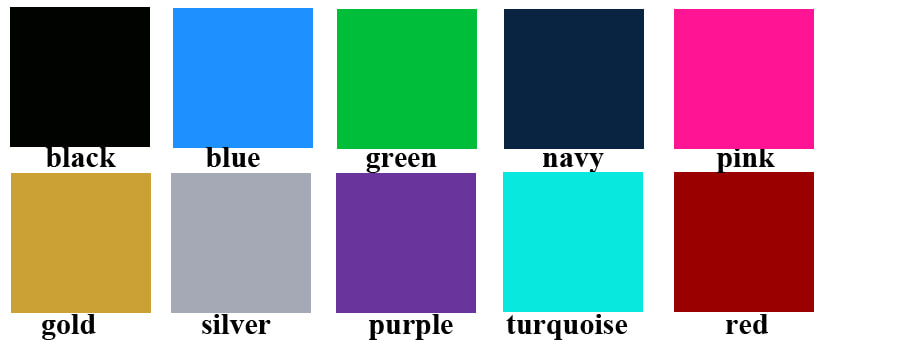color chart of foldable gift boxes