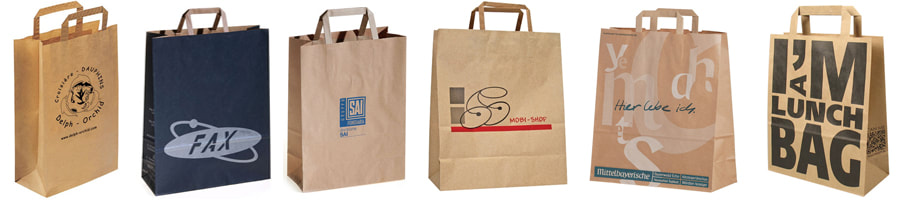 flat handle kraft bags with logo